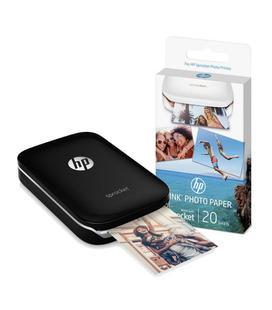 Kit HP Sprocket Bluetooth Negra + Papel Fotográfico Adhesivo