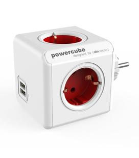 PowerCube 4 Tomas + 2 USB Rojo