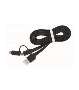 Cable Datos/Carga MicroUSB + Lightning a USB 1m Negro