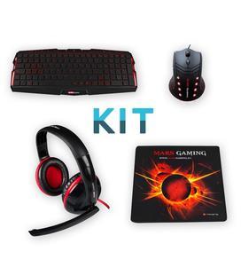 Mars Gaming KIT Teclado MK0 + Ratón MM0 + Auricular MH0 + Alfombrilla MMP0